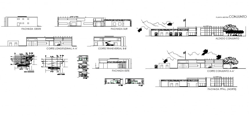 Collage building structure detail plan, elevation and section 2d view layout autocad file