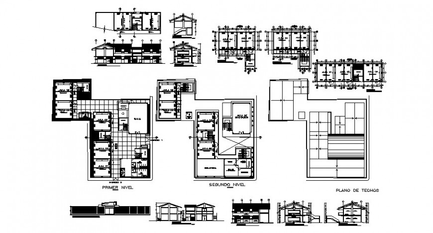 Collage floor plan and elevation in auto cad file