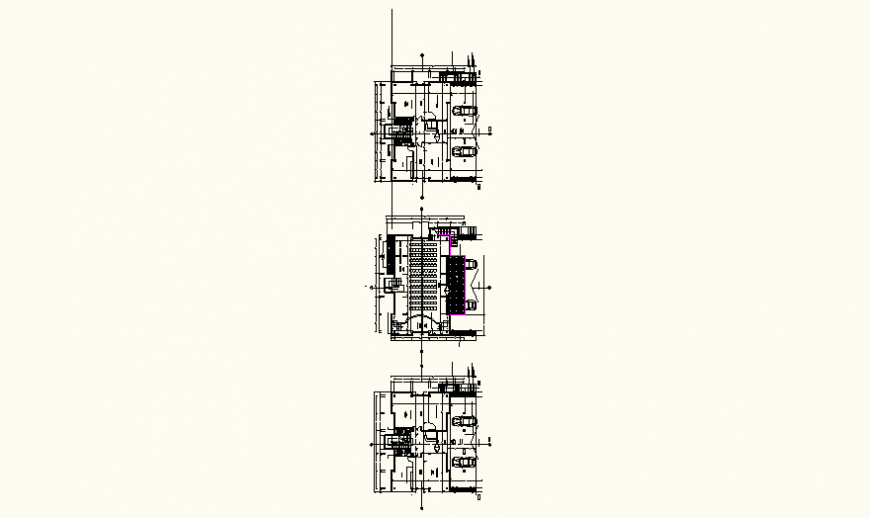Collection center store and parking detail plan autocad file