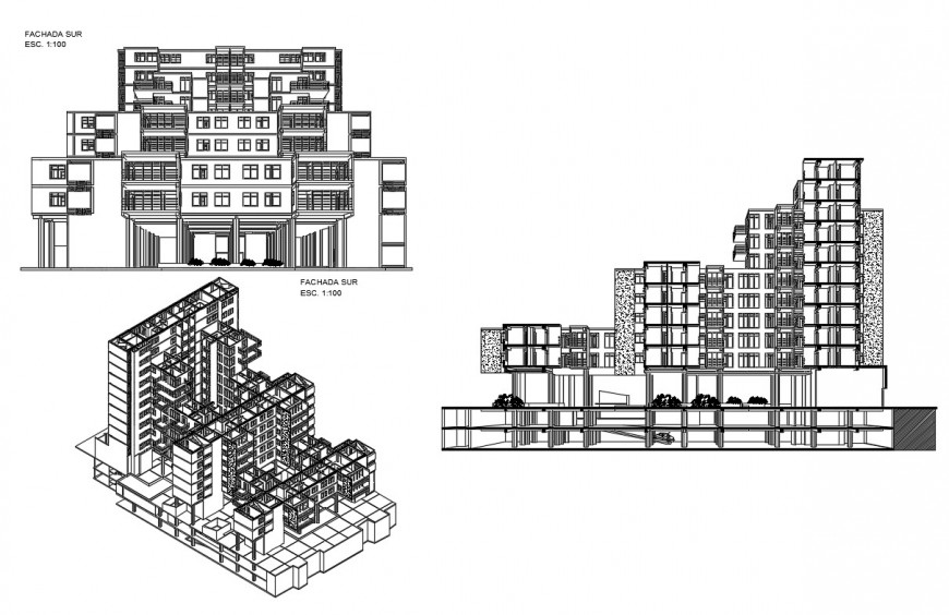 Collective housing building main elevation and isometric elevation and basement section cad drawing details dwg file
