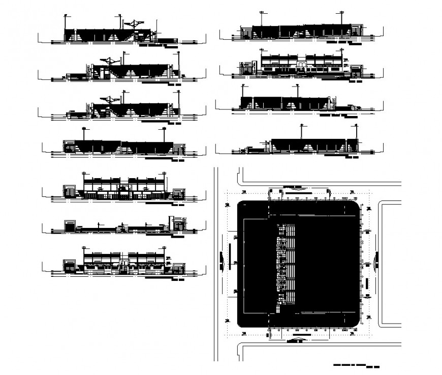 College building detail CAD structural block layout autocad file