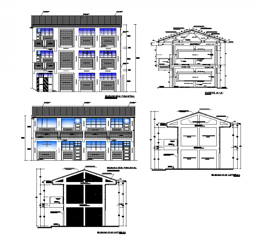 College building detail elevation and sectional layout file