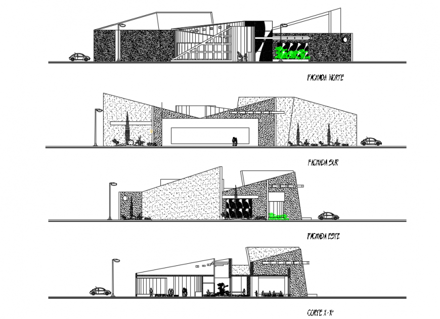 College building front and back elevations and sectional details dwg file