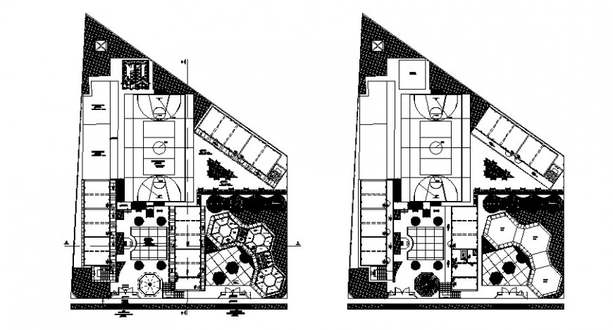 College building layout plan and landscaping structure details dwg file
