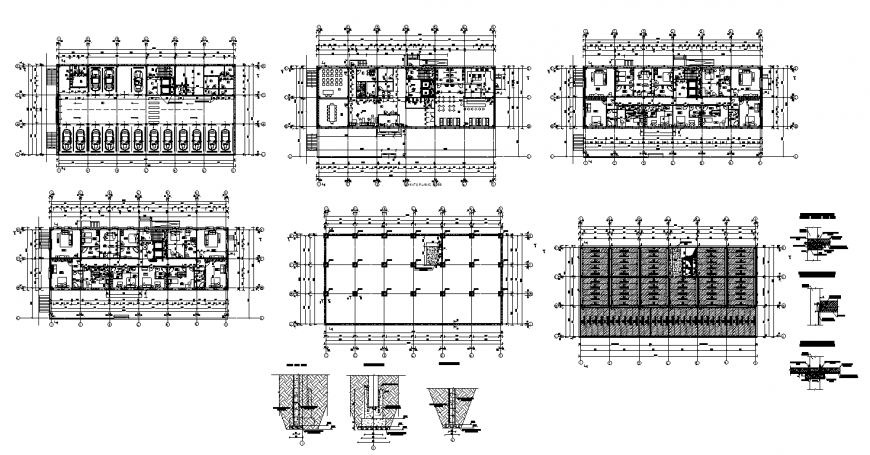 College buildings and hostel layout plan autocad file