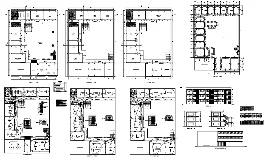 College campus plan view detail elevation layout file