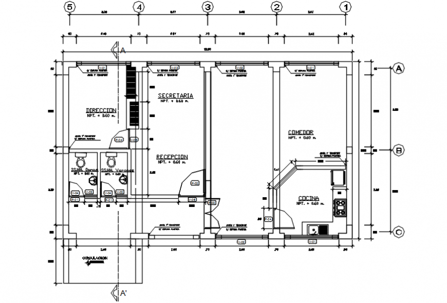College ground floor distribution plan cad drawing details dwg file