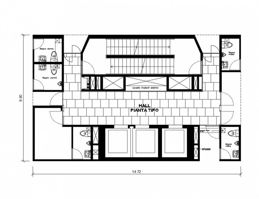 College hall with sanitary vertical section and plan cad drawing details dwg file