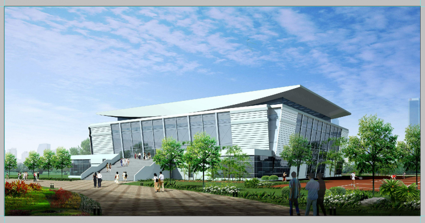 College institute building 3d model detail elevation Photoshop file