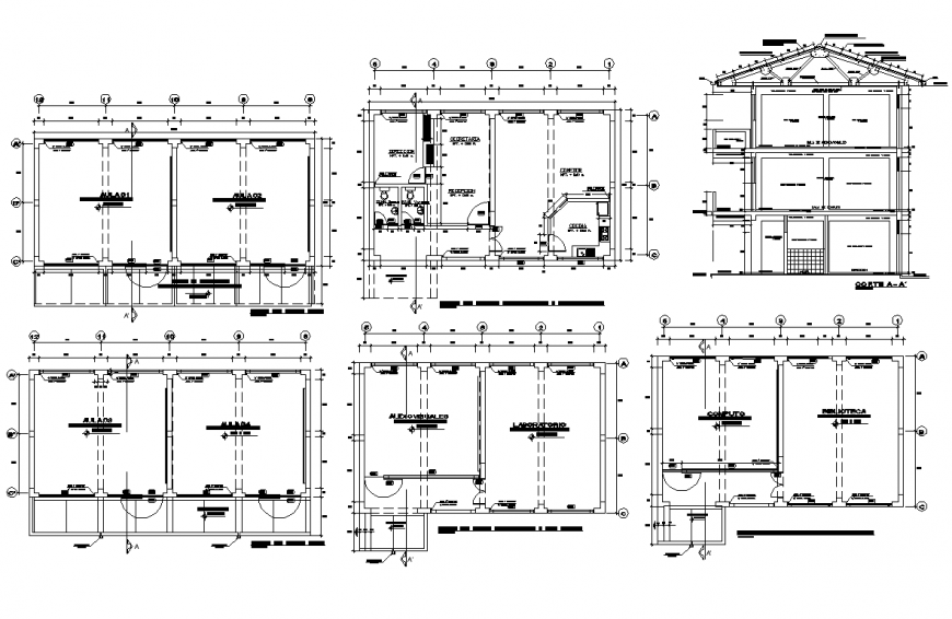 College institute building structure detail plan layout dwg file