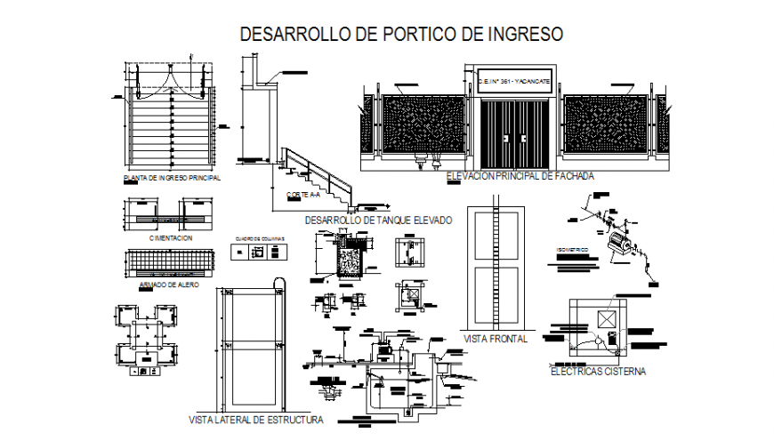 College main gate elevation, doors and windows installation and staircase sectional details dwg file