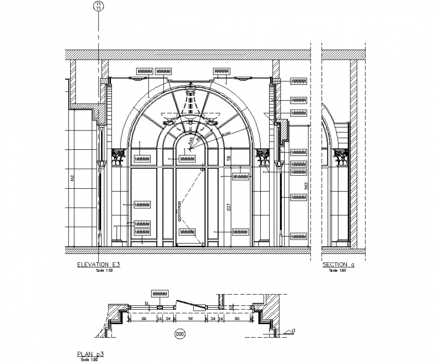 College main gate plan, elevation and section detail dwg file