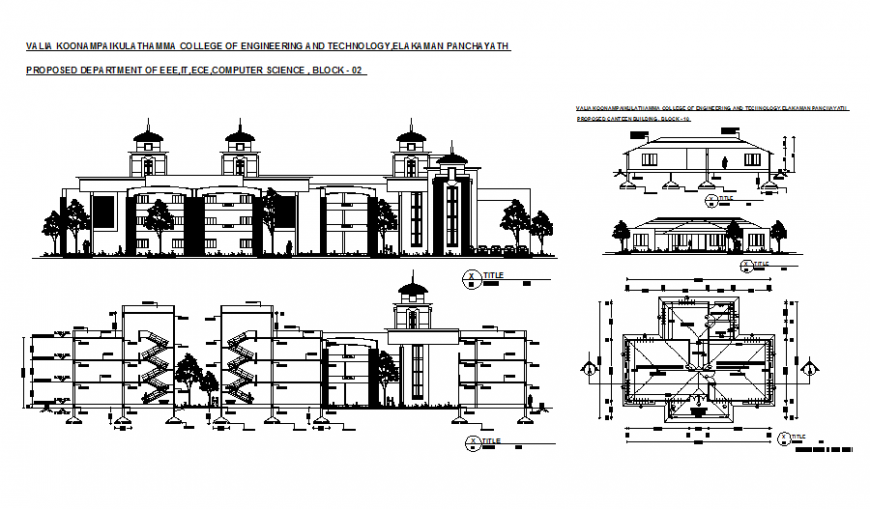 College of engineering and technology all sided elevation, section and plan details dwg file