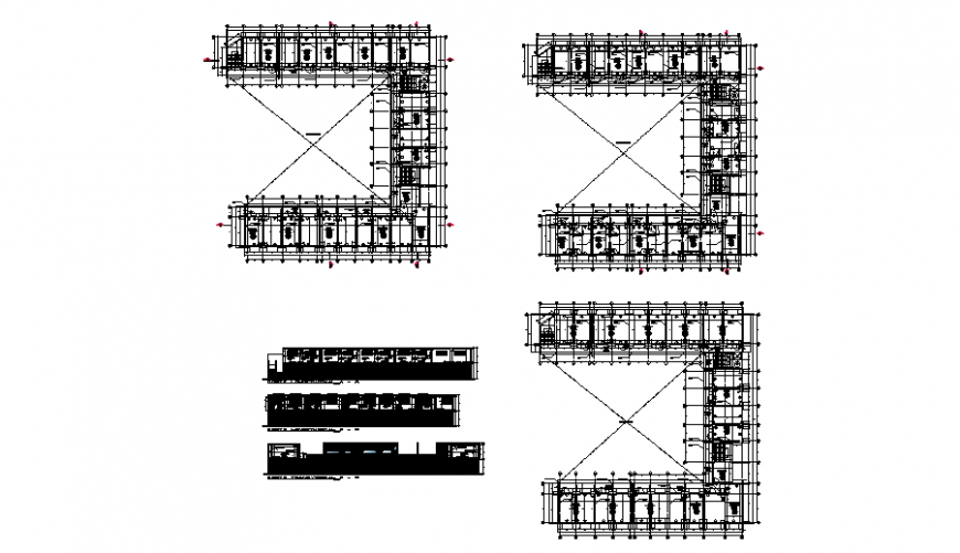 College university plan and elevation autocad file