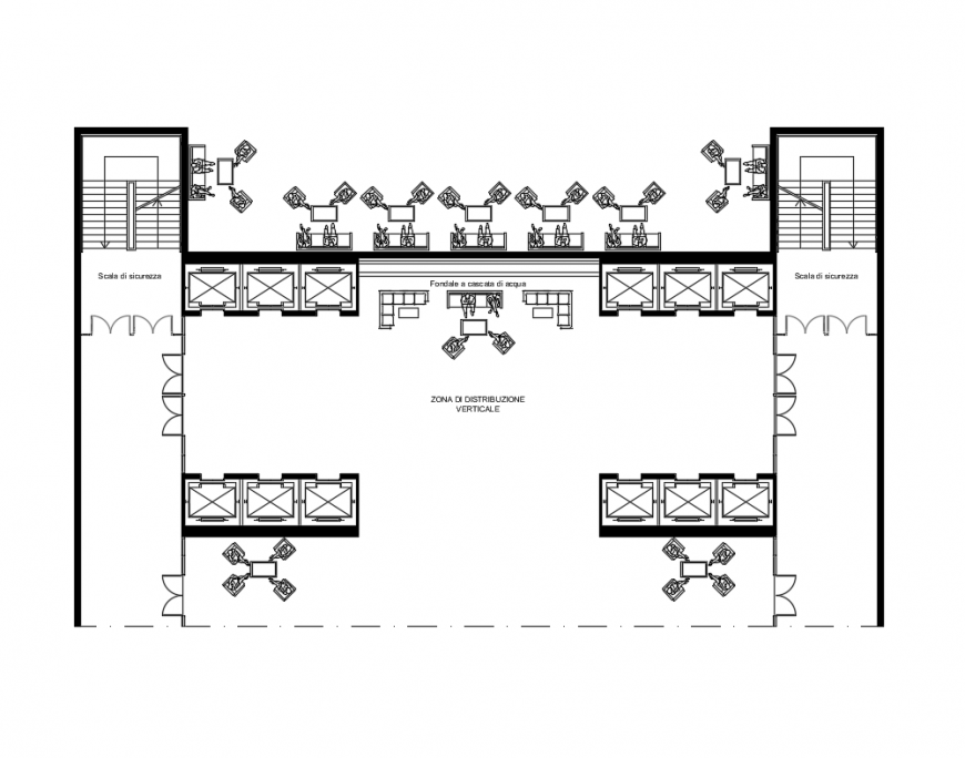 College waiting area structure layout details dwg file