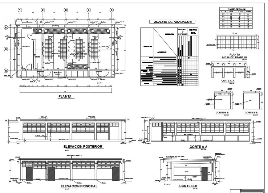 College with laboratory elevation, section and floor plan drawing details dwg file
