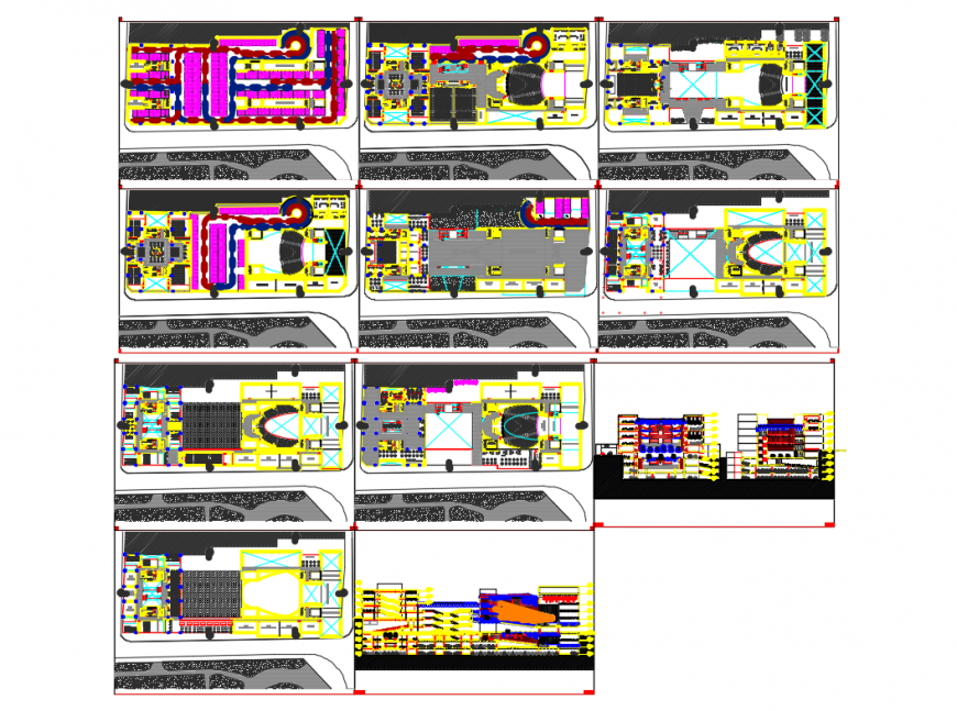Colon theater elevation, sections and floor plan details dwg file