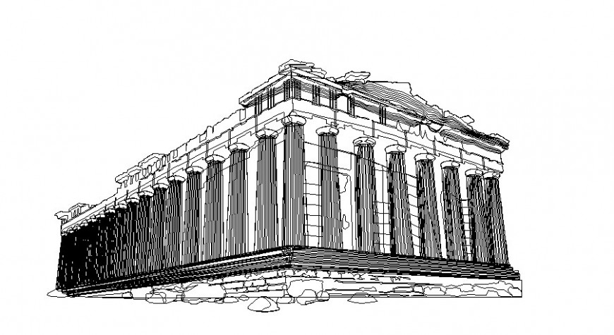Colonial architecture building 3d drawing in dwg file.