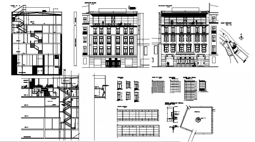 Colonial architecture of apartment drawing in dwg file.