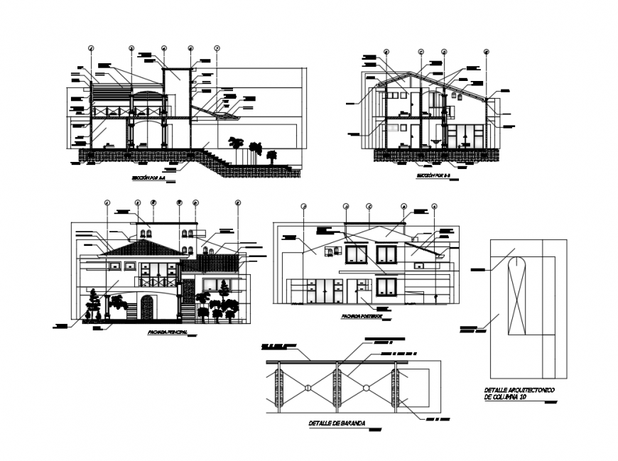 Colonial two story house all sided elevation and sectional details dwg file