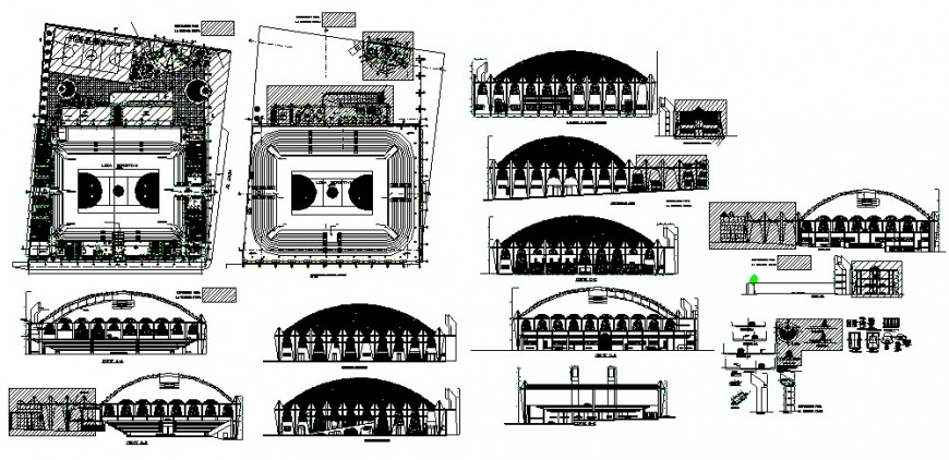 Colosseum with sports center all sided elevation, section, plan and auto-cad details dwg file