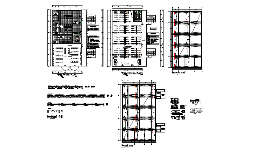 Column and beam plan of auditorium with detail in auto cad
