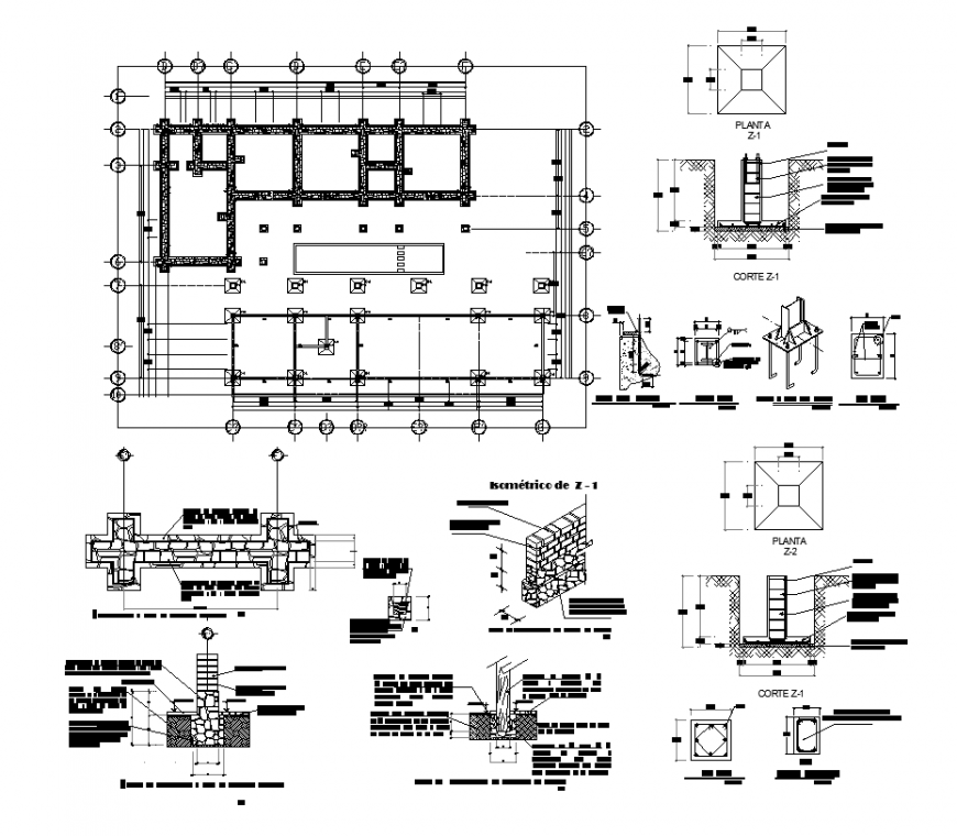 Column and beam structure detail elevation 2d view layout dwg file