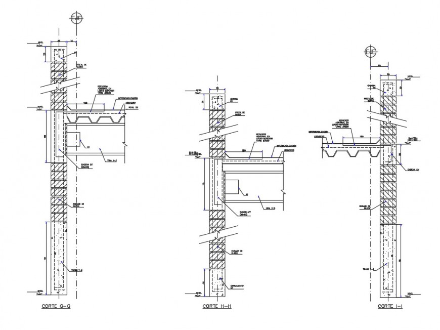 Column and roofing structure section 2d view CAD construction unit autocad file