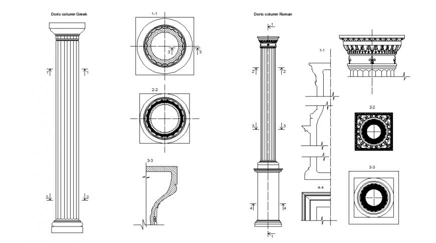 Column Block Detail in Elevation DWG file