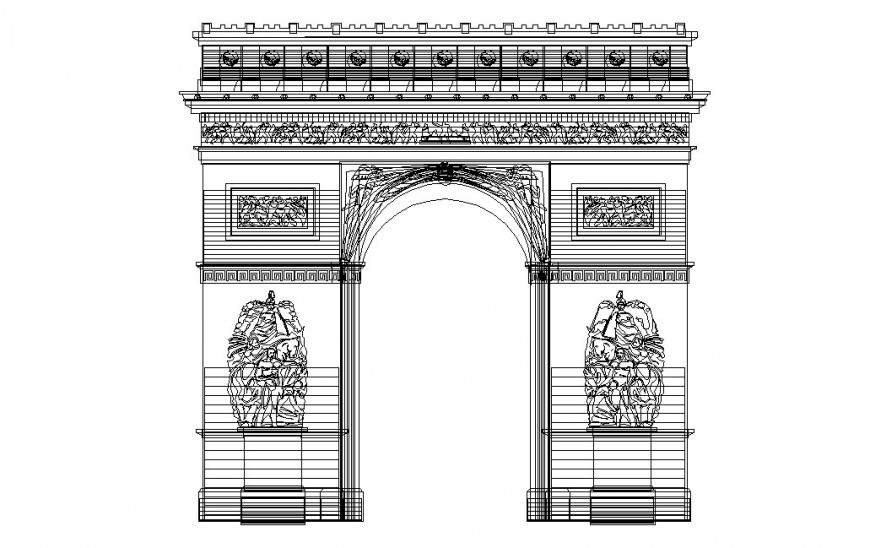 Column classic gate main elevation cad drawing details dwg file