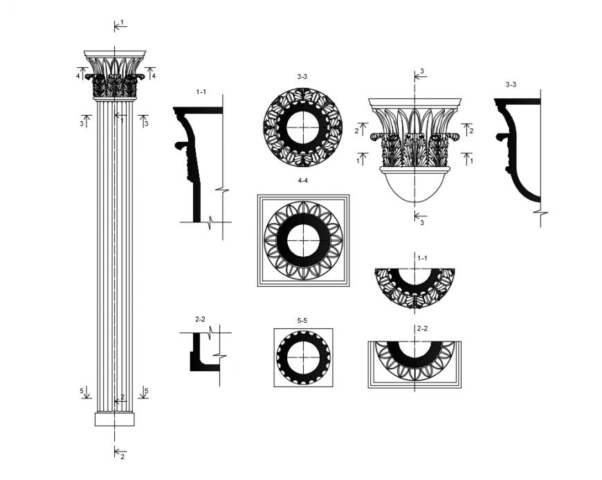 Column composite parts cad block details dwg file