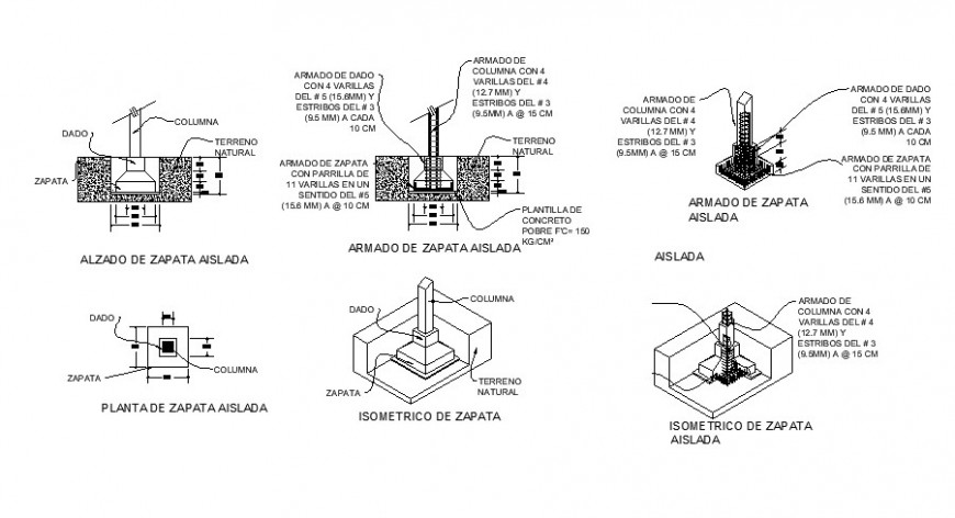 Column construction and structure cad drawing details dwg file