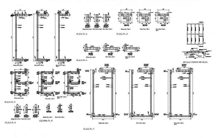 Column construction reinforcement detail elevation layout file