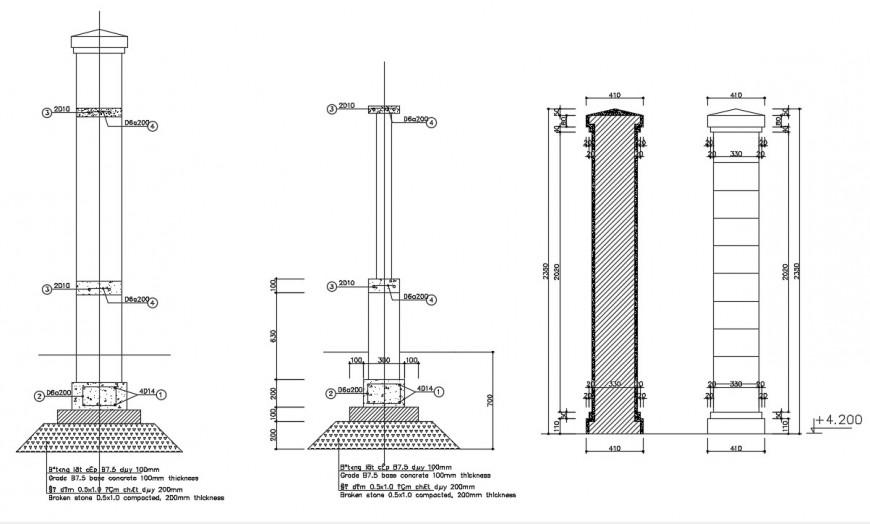 Column design drawing details 2d view elevation dwg file
