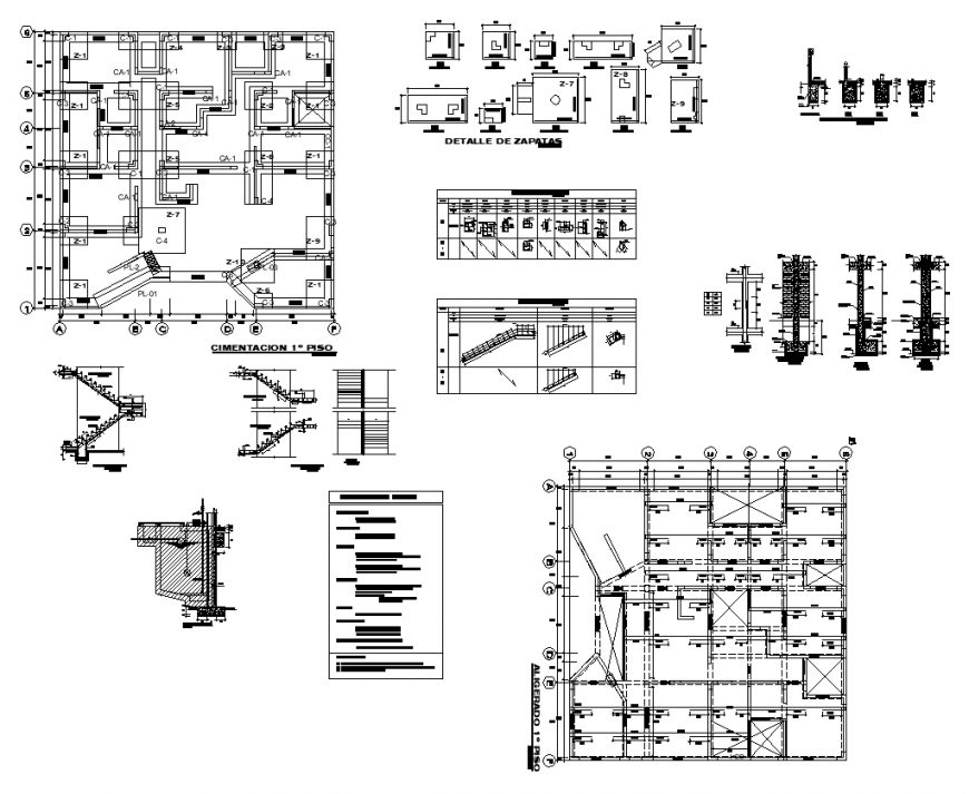 Column detail elevation plan layout autocad file