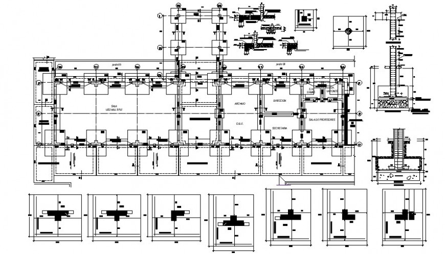 Column installation plan 2d view CAD RCC structural blocks dwg file
