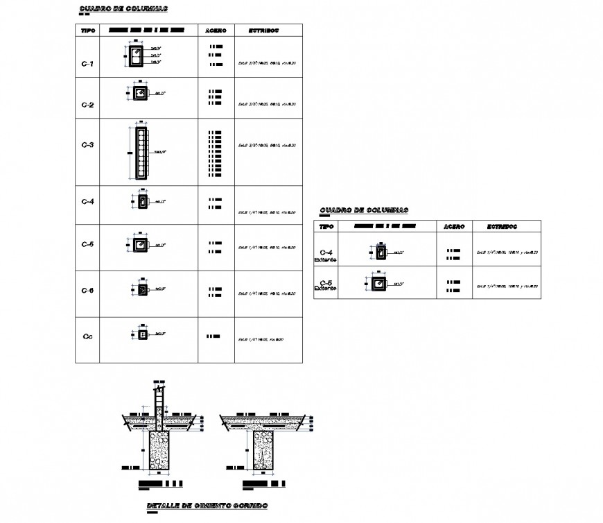 Column table specification plan dwg file