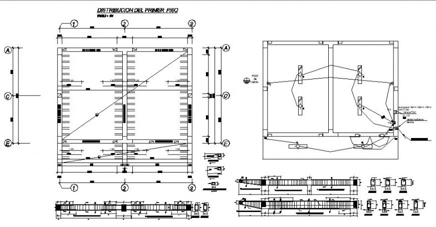 Column to beam connection and electrical fitting detail 2d view layout file in autocad format