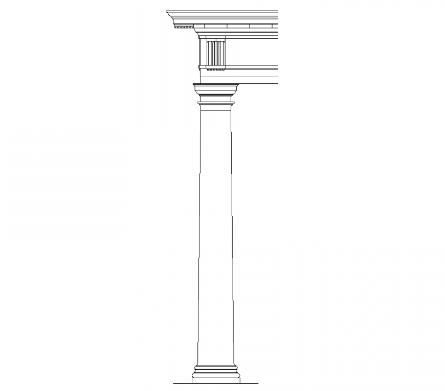 Column with balcony area of interior design dwg file