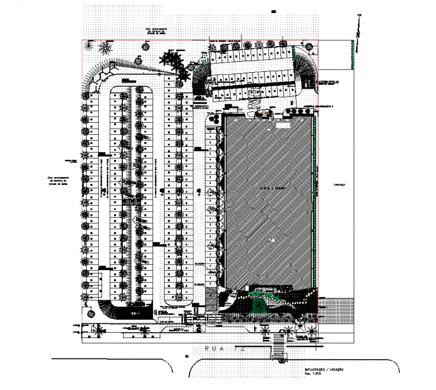 Commerce building complex structure detail 2d view layout plan in dwg format
