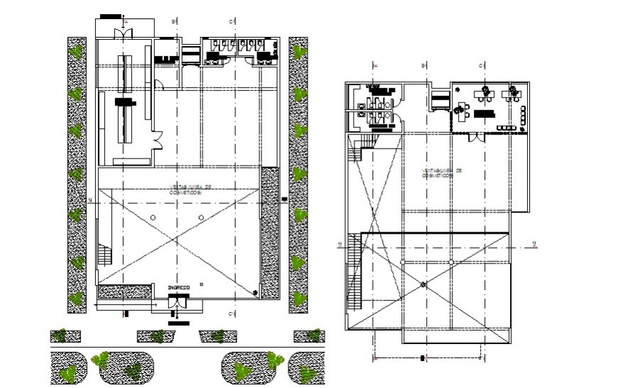 Commerce building drawings details 2d view dwg autocad file