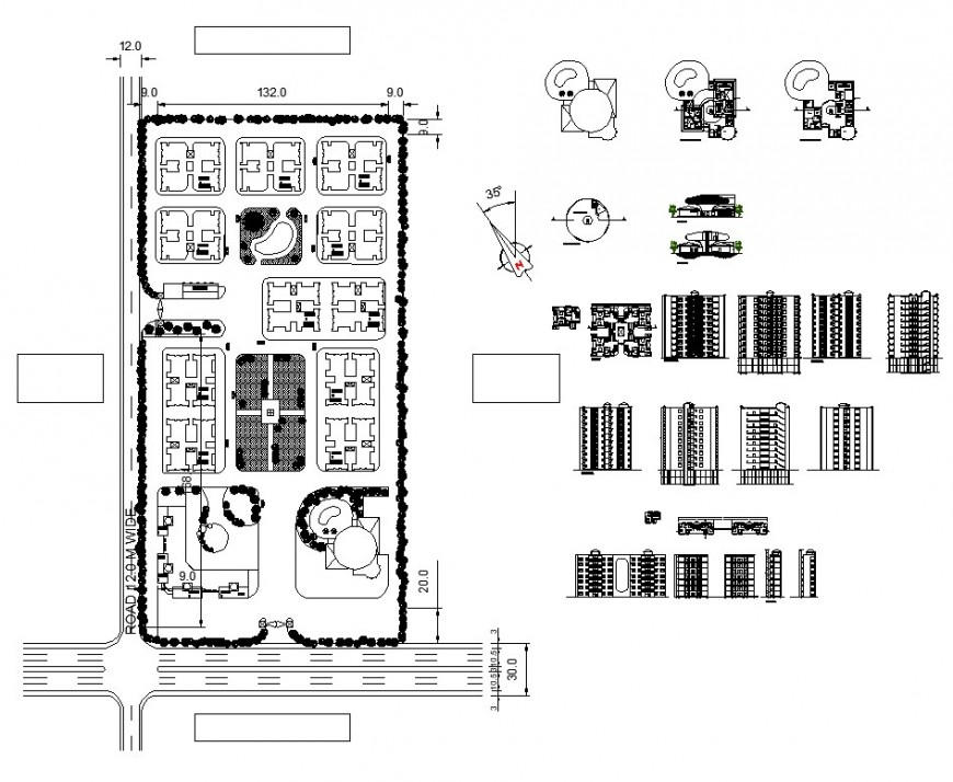 Commerce building plan and elevation 2d view CAD structure layout file