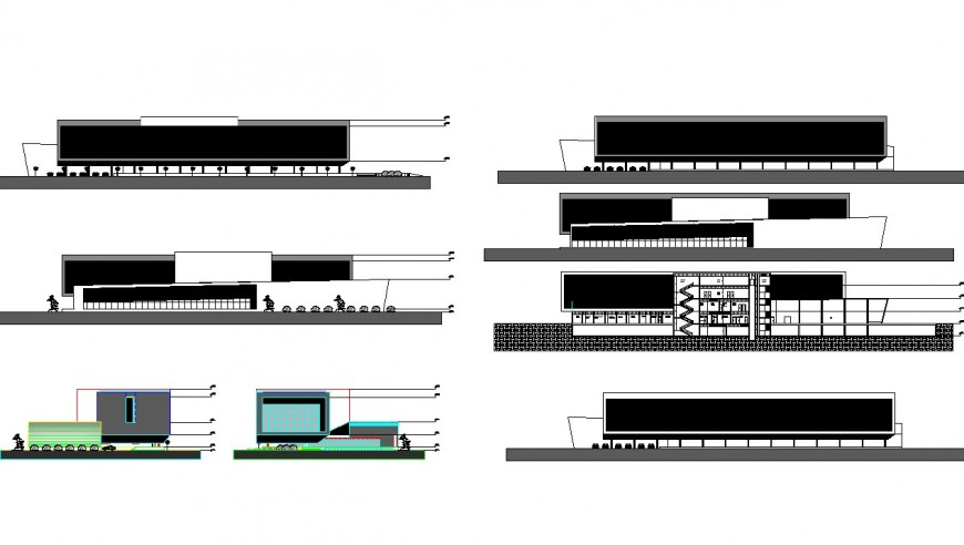 Commerce building section and elevation detail 2d view autocad file