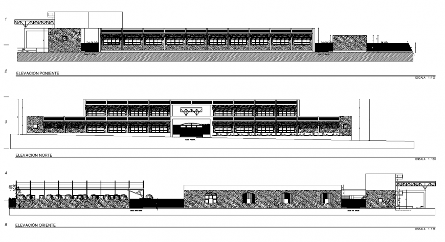 Commerce building structure detail elevation 2d view layout autocad file