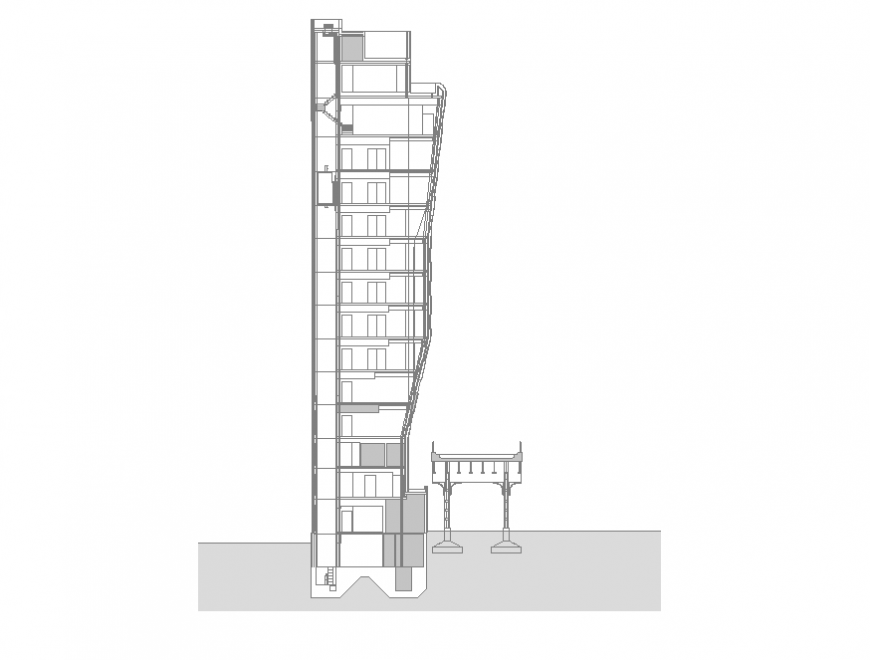 Commerce building structure detail elevation 2d view layout dwg file