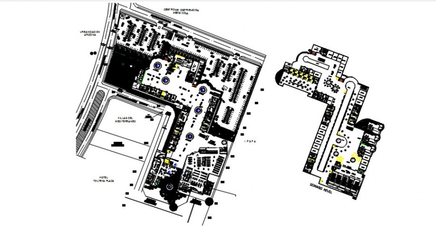 Commercial and shopping center floor plan distribution drawing details dwg file