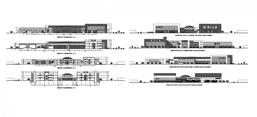 Commercial and shopping complex all sided elevation and section cad drawing details dwg file