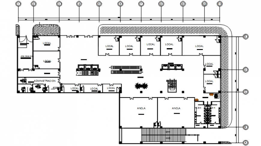 Commercial and shopping complex first floor distribution plan details dwg file