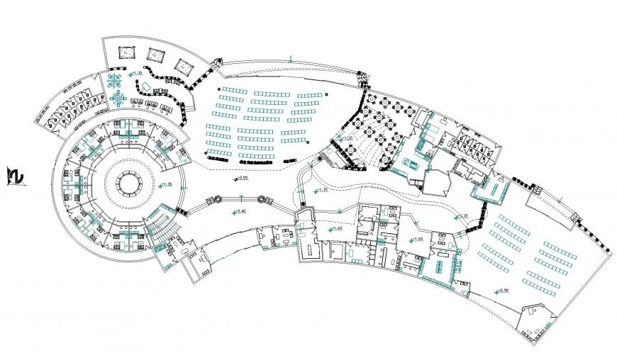 Commercial arc shape building plan autocad file