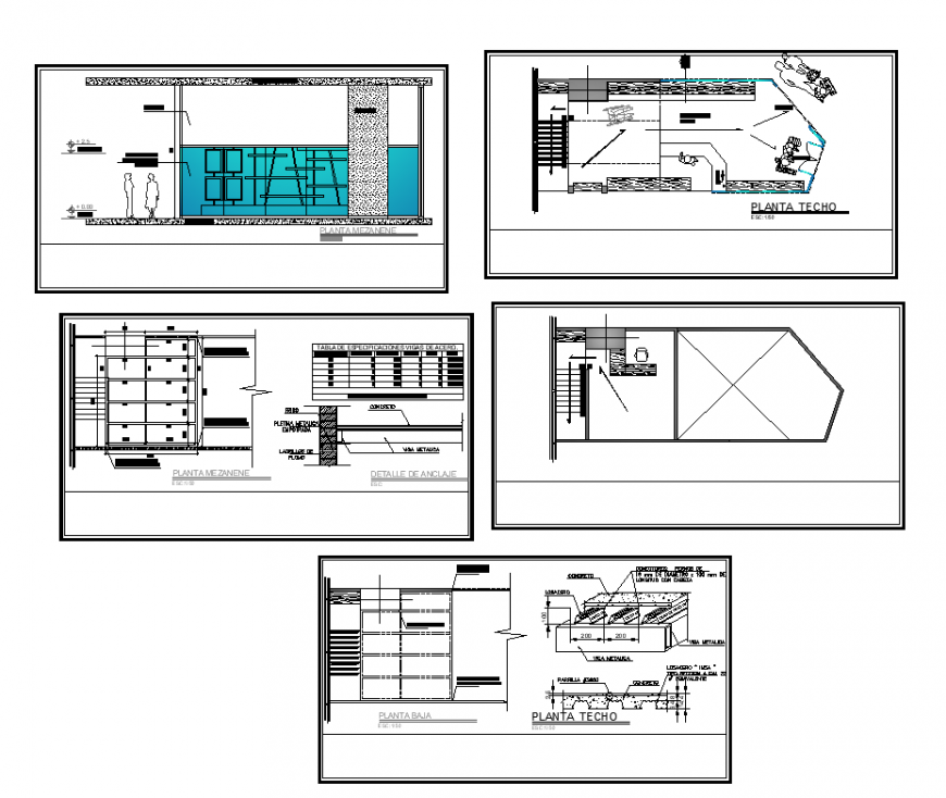 Commercial area design with architectural elevation and plan dwg file